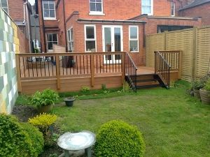 Balau hardwood decking with bespoke hardwood and metal balustrade